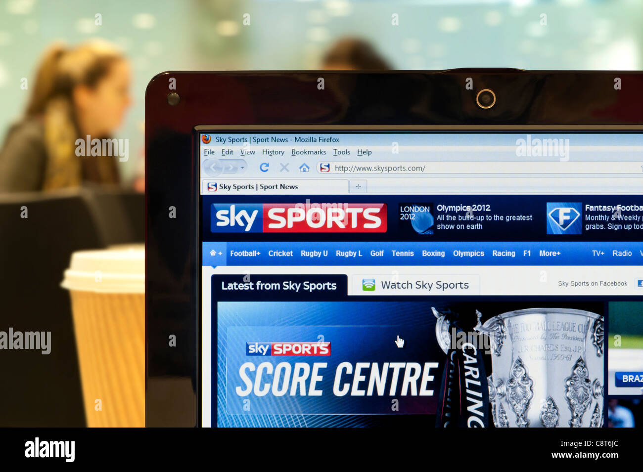 b9d0c012ec4 The Sky Sports website shot in a coffee shop environment (Editorial use  only: print