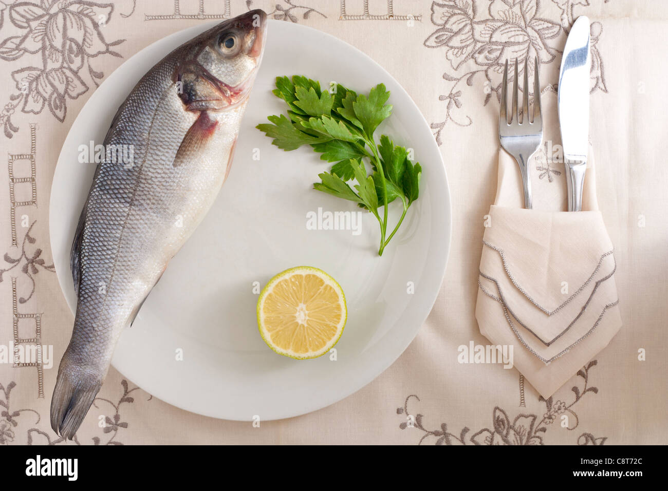 Bass with Lemon and Parsley - Stock Image