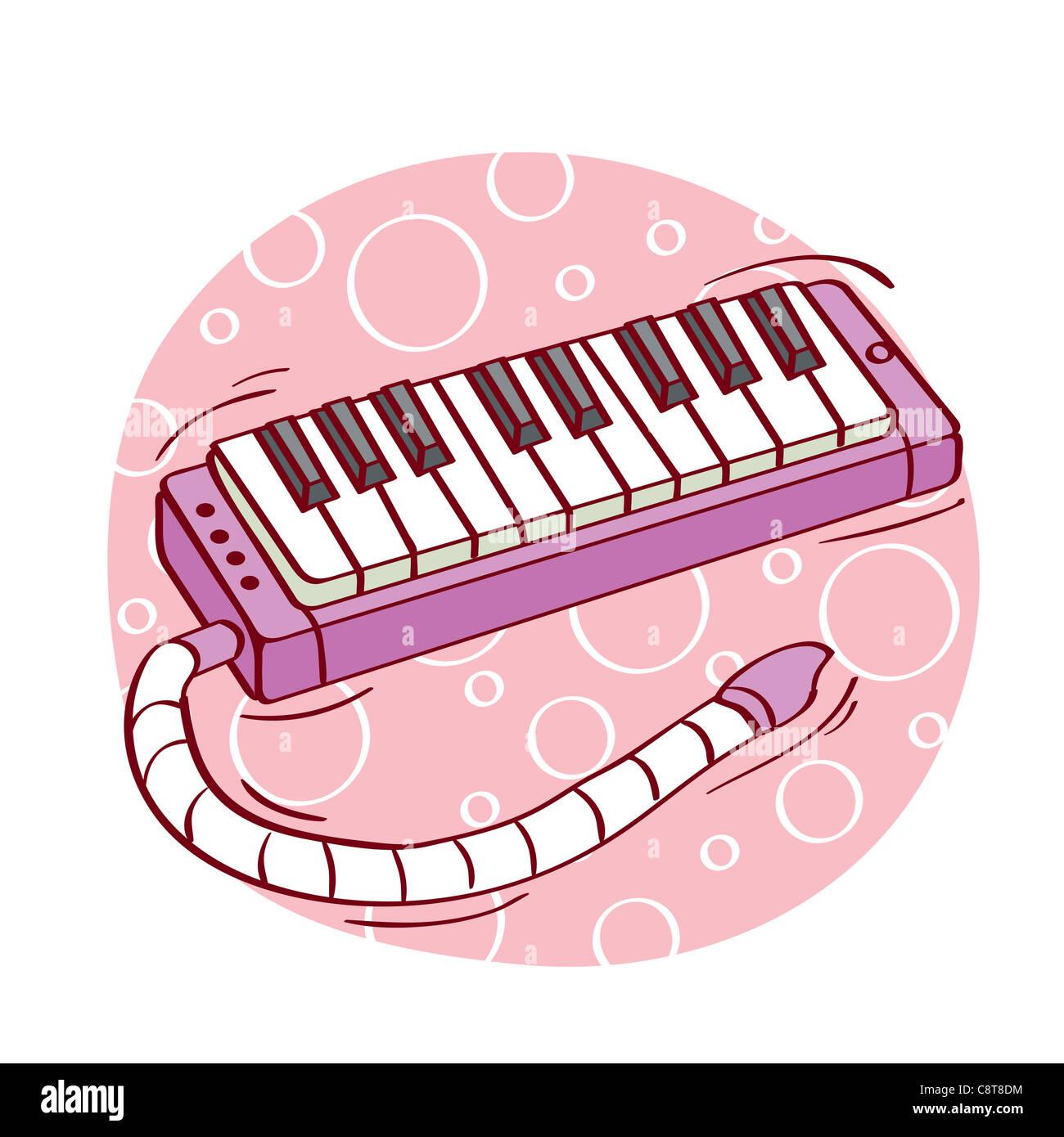 Illustration of synthesizer keyboard against white background - Stock Image