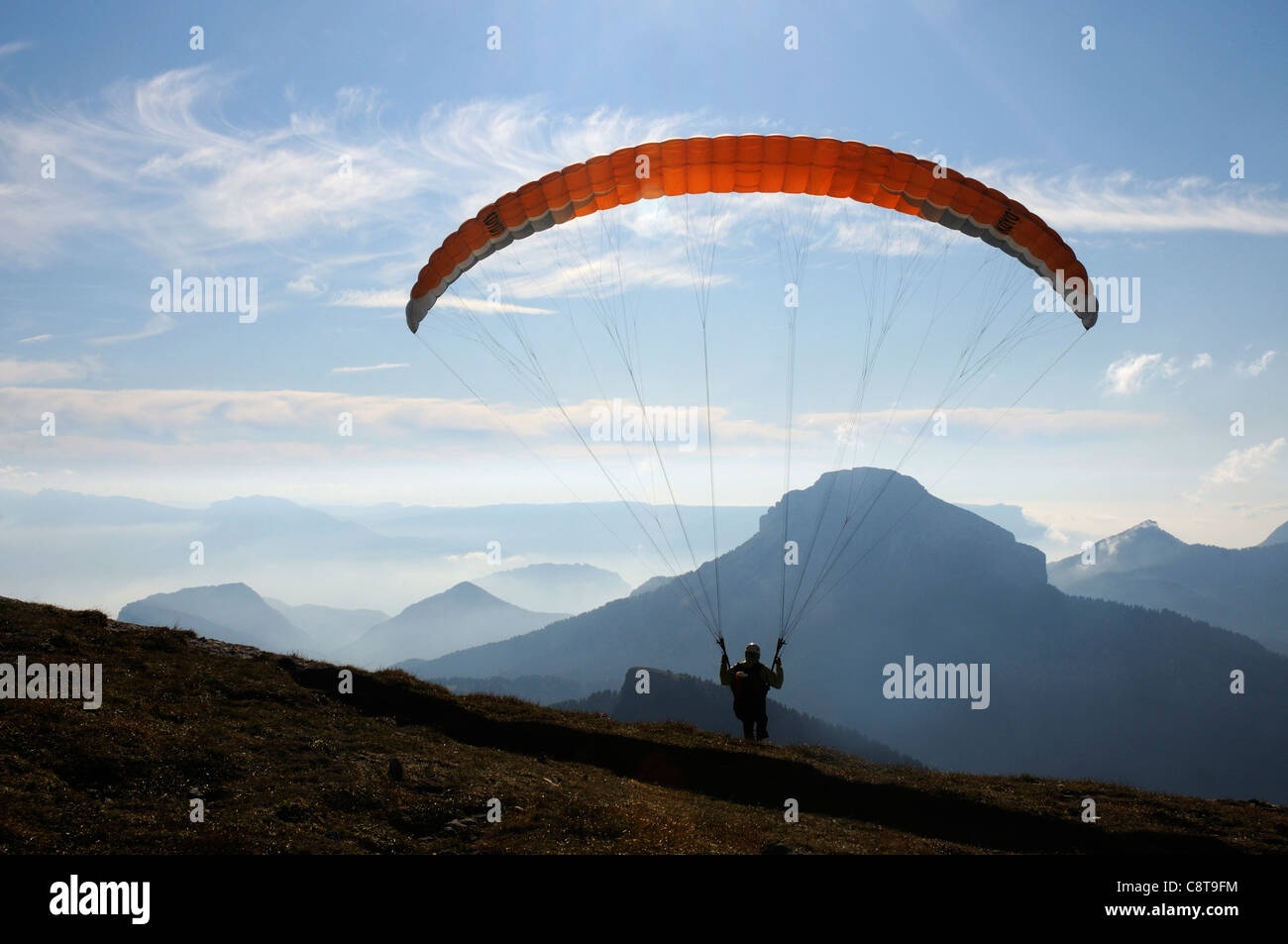 Parapenting in the Chartreuse region of the French Alps - Stock Image