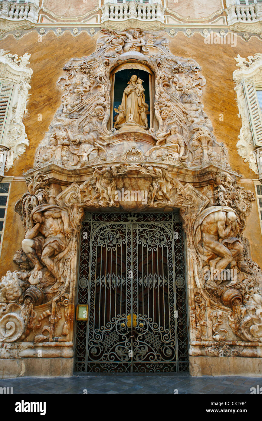 Intricate marble composition at the entrance to the Palace of the Marquis of Dos Aguas. Valencia, Spain. Stock Photo