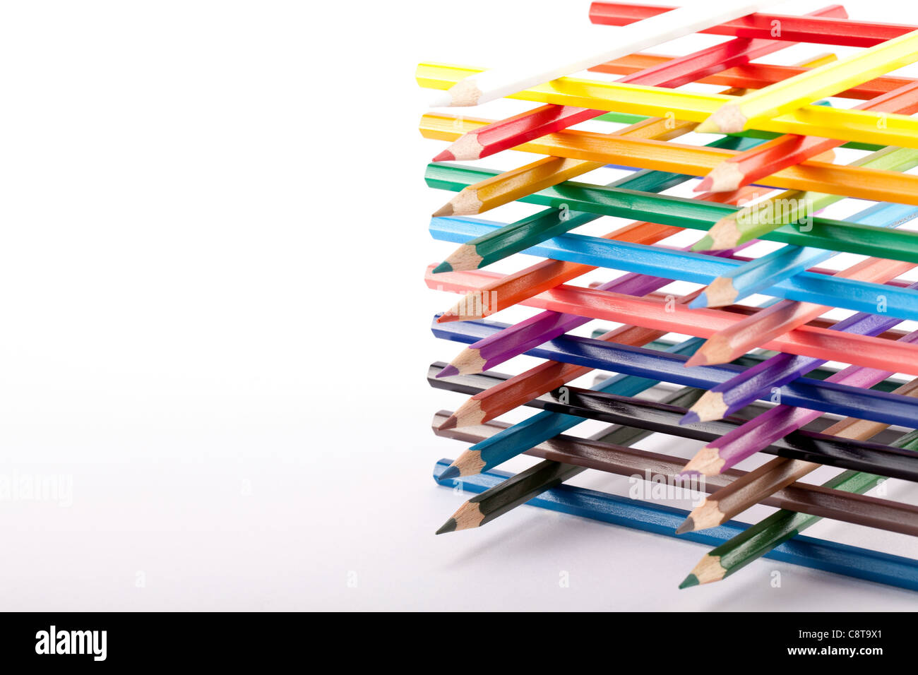 Large Group Of Multi Colored Pencils With Built Structure - Stock Image