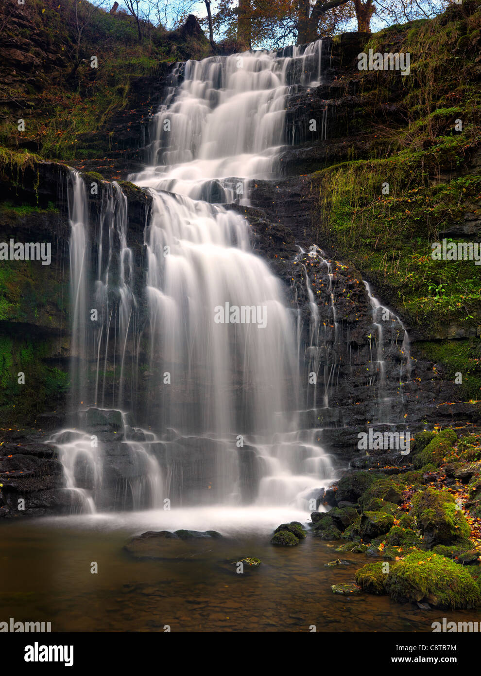 Scaleber Force Waterfall river Yorkshire - Stock Image
