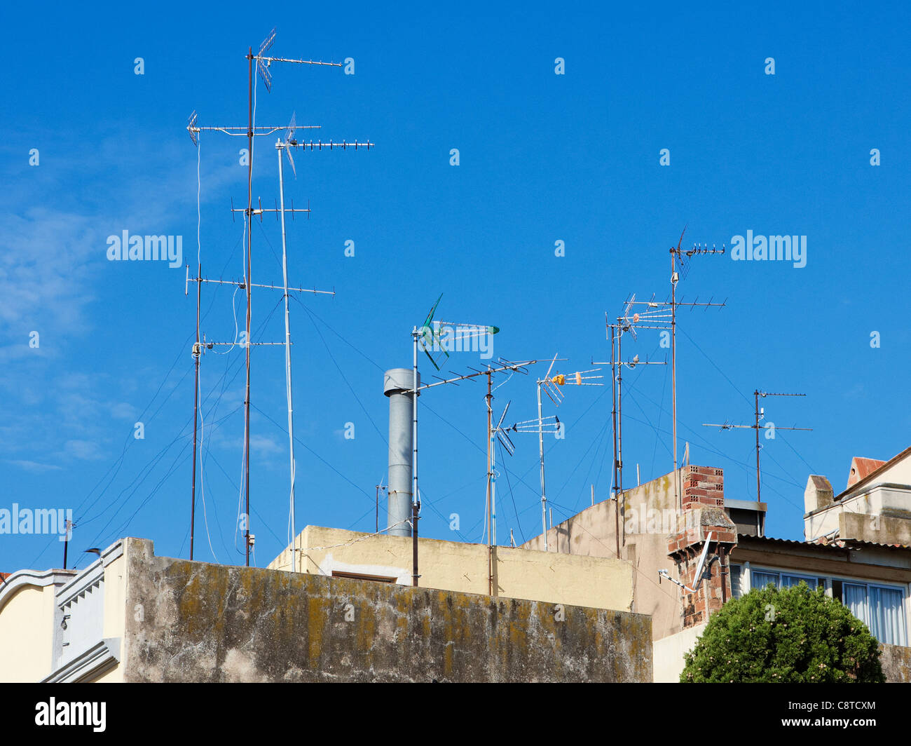 Receiving aerials. Tarragona, Catalonia, Spain. - Stock Image