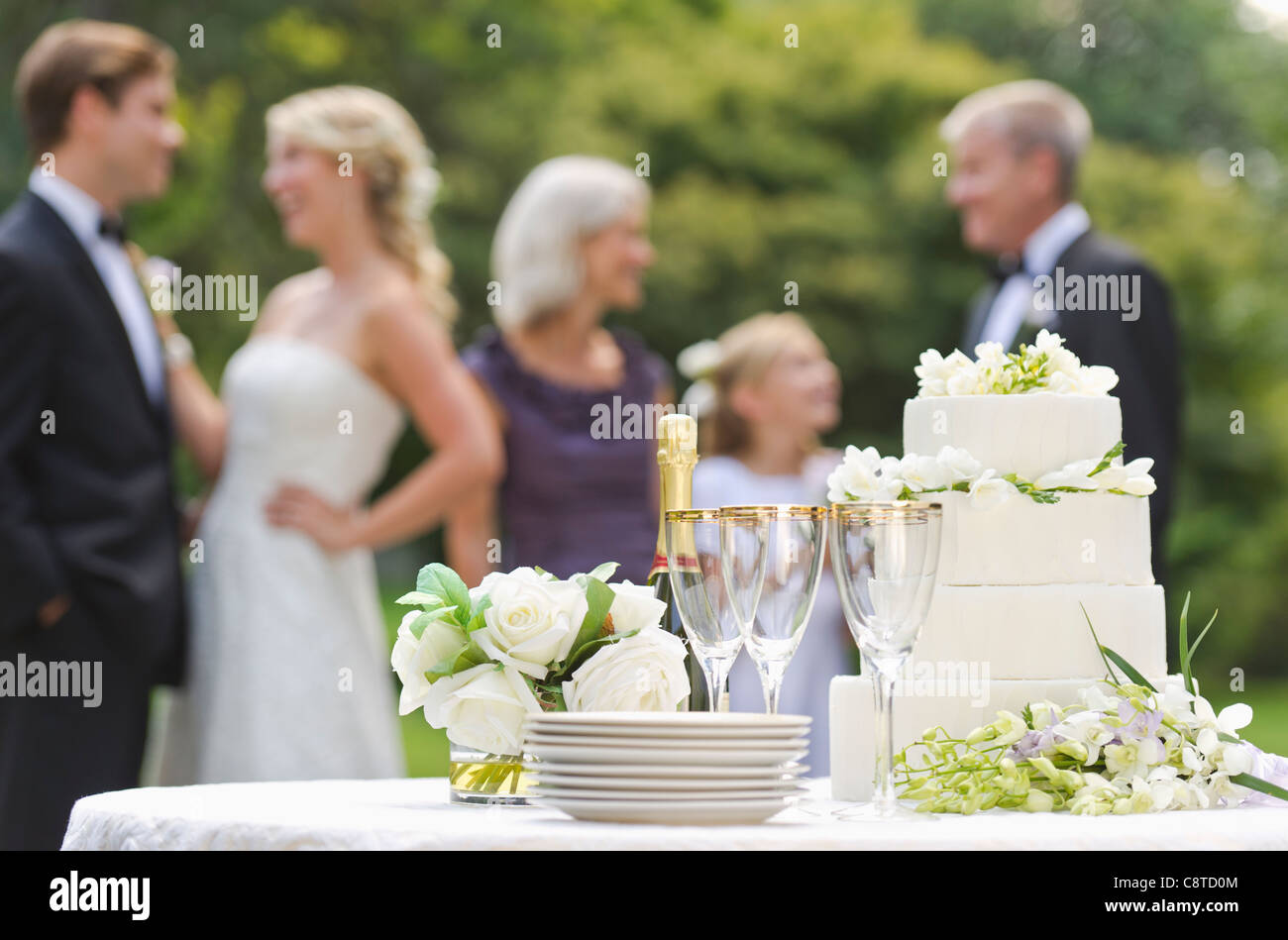 USA, New York State, Old Westbury, Wedding table with champagne and cake, people in background - Stock Image