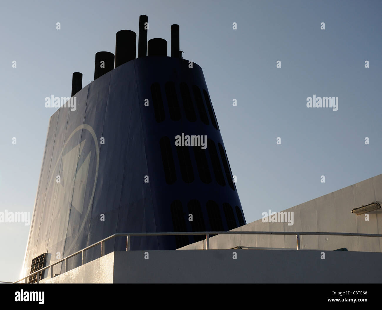 The funnel of a DFDS ferry - Stock Image