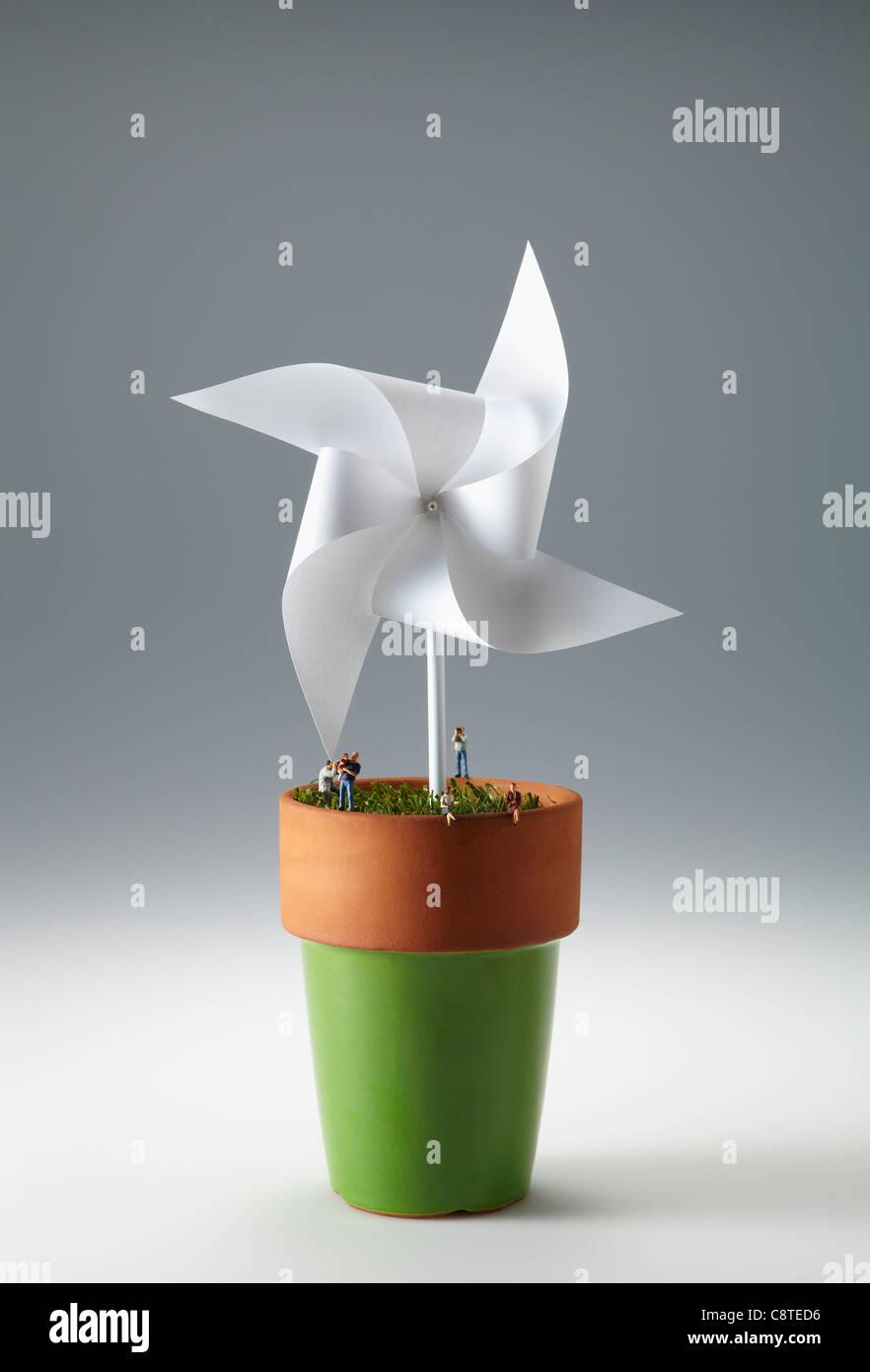 White Paper Windmill In Flowerpot Stock Photo 39876178 Alamy