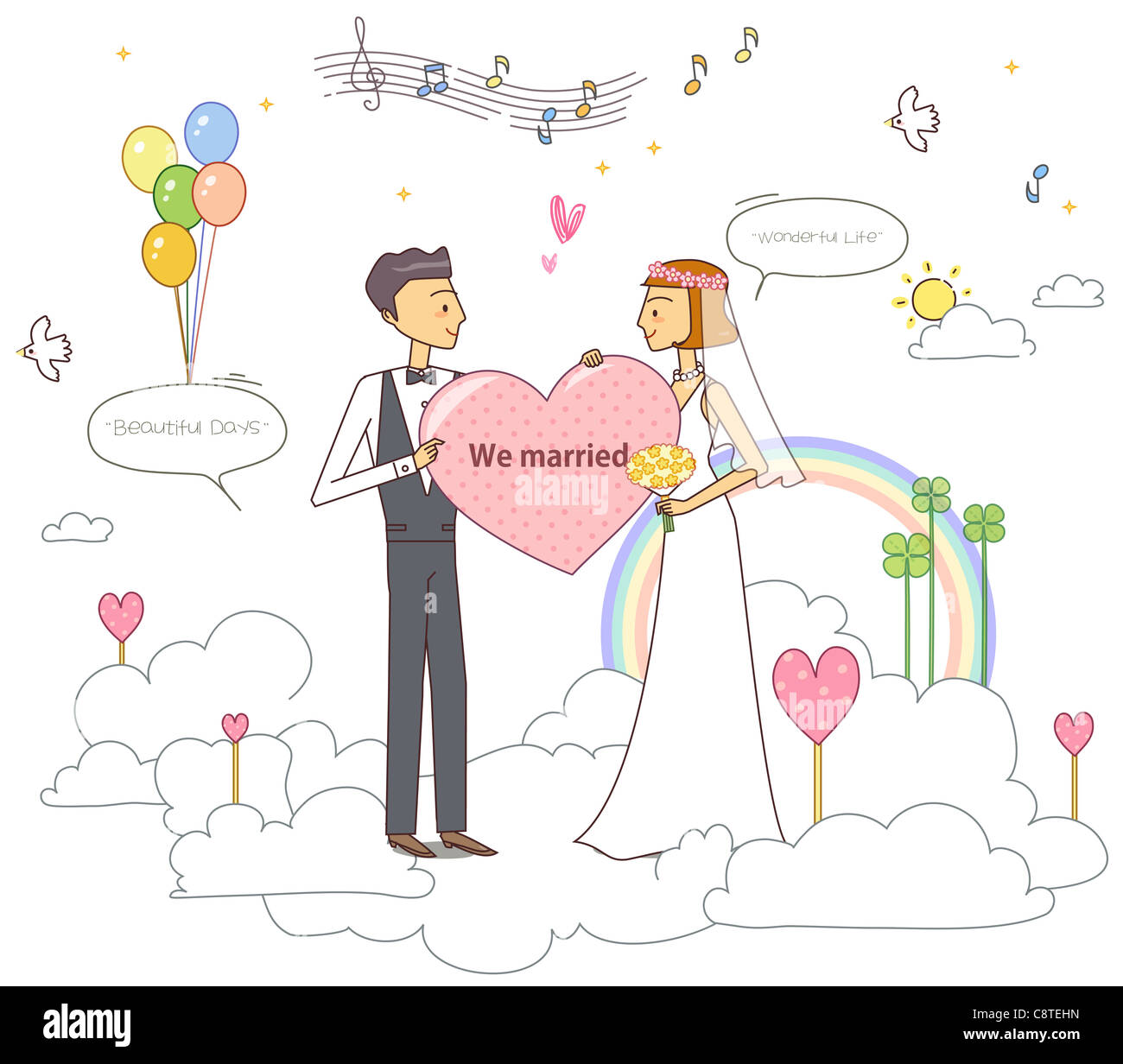 Illustration of newly wed couple with rainbow in background - Stock Image