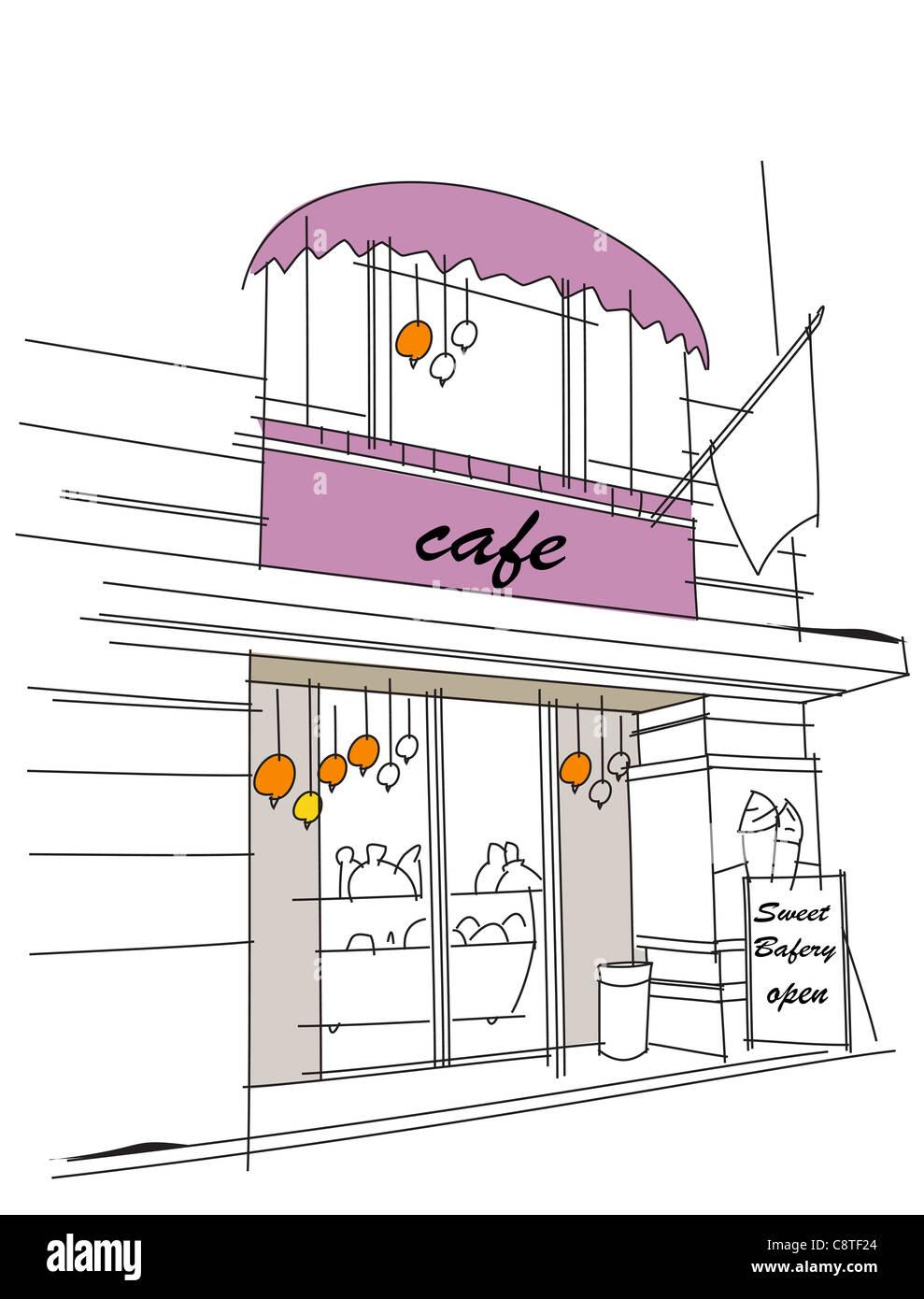 Cafe Exterior Stock Photo Alamy