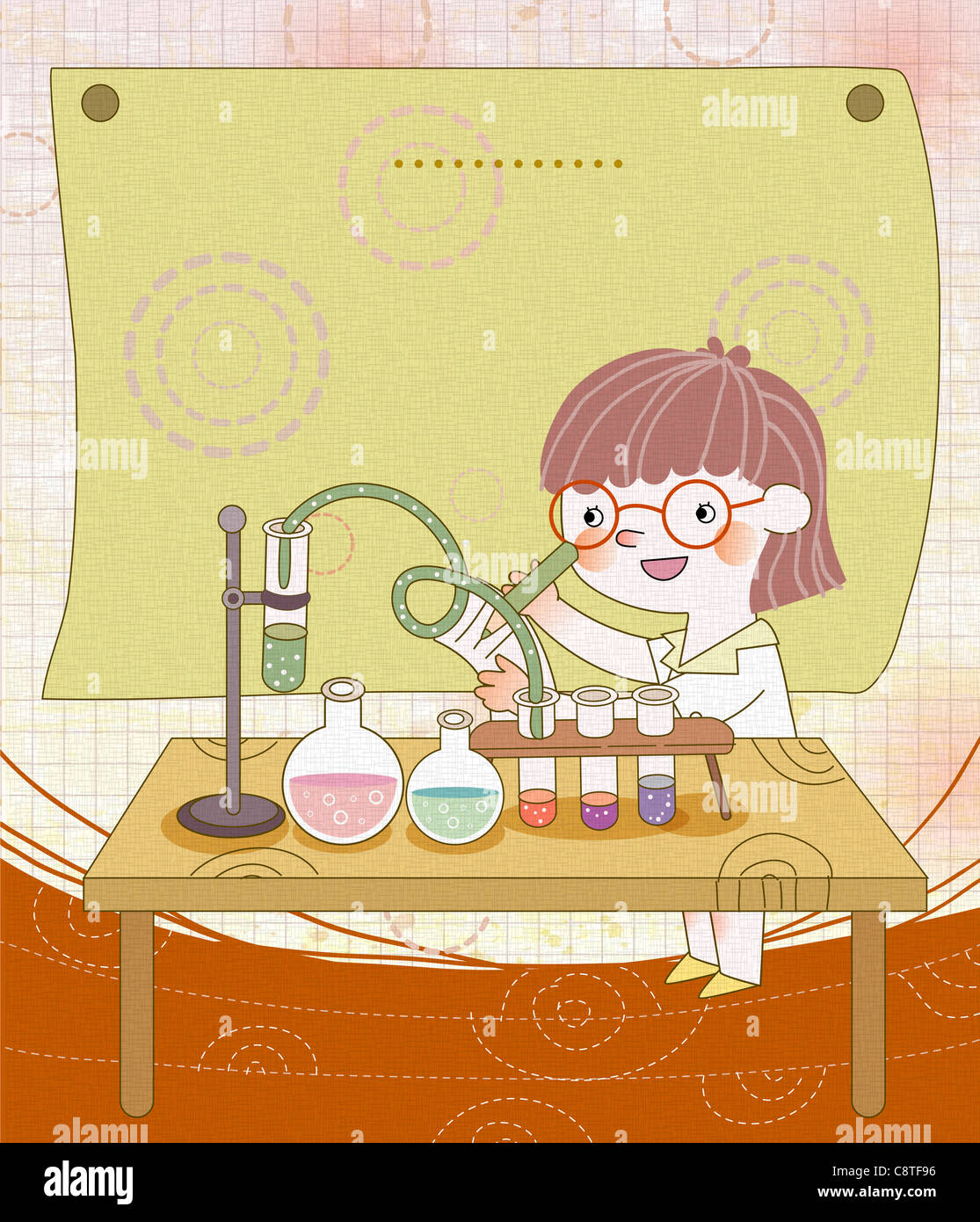 Girl In Laboratory - Stock Image