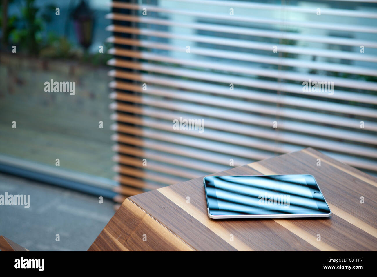 Tablet Pc With Blinds - Stock Image