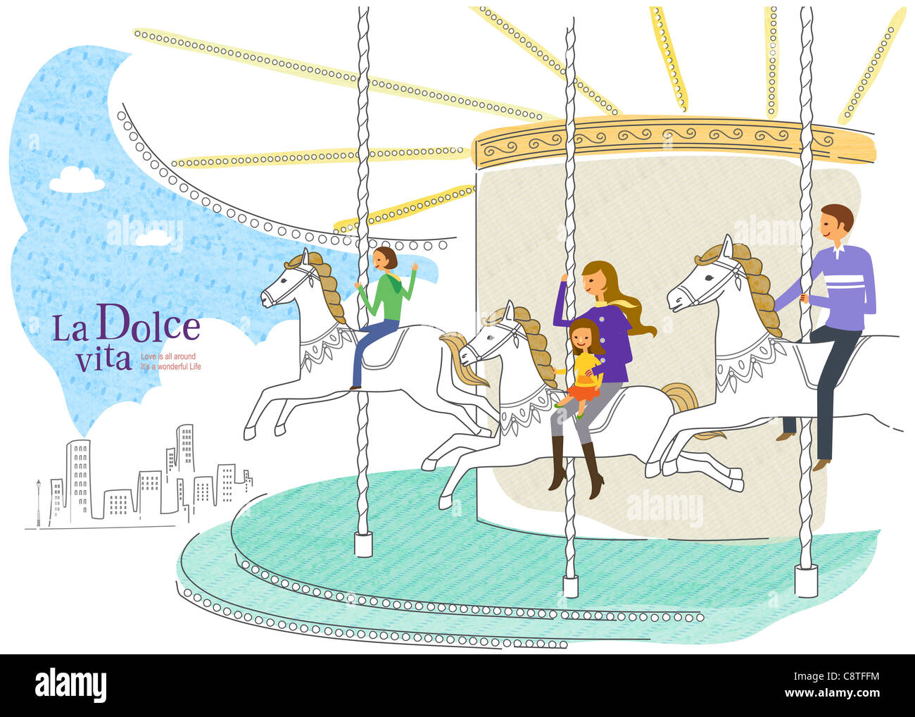 People Sitting On Merry-go-round - Stock Image
