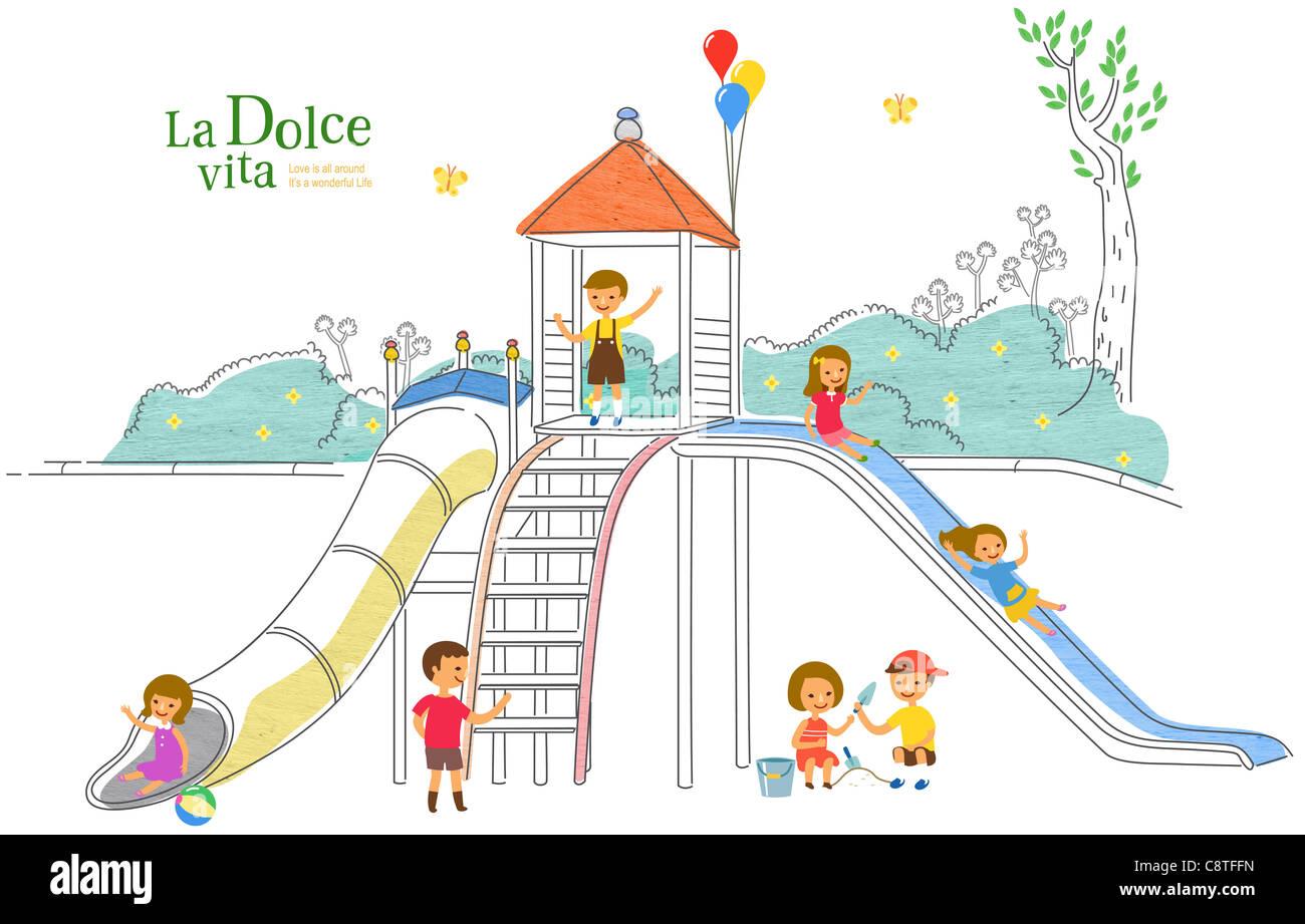 Children On Slide - Stock Image