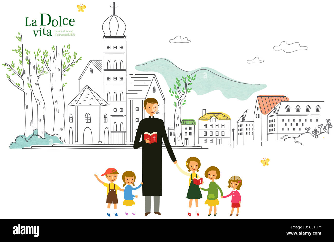 Church Father With Children - Stock Image