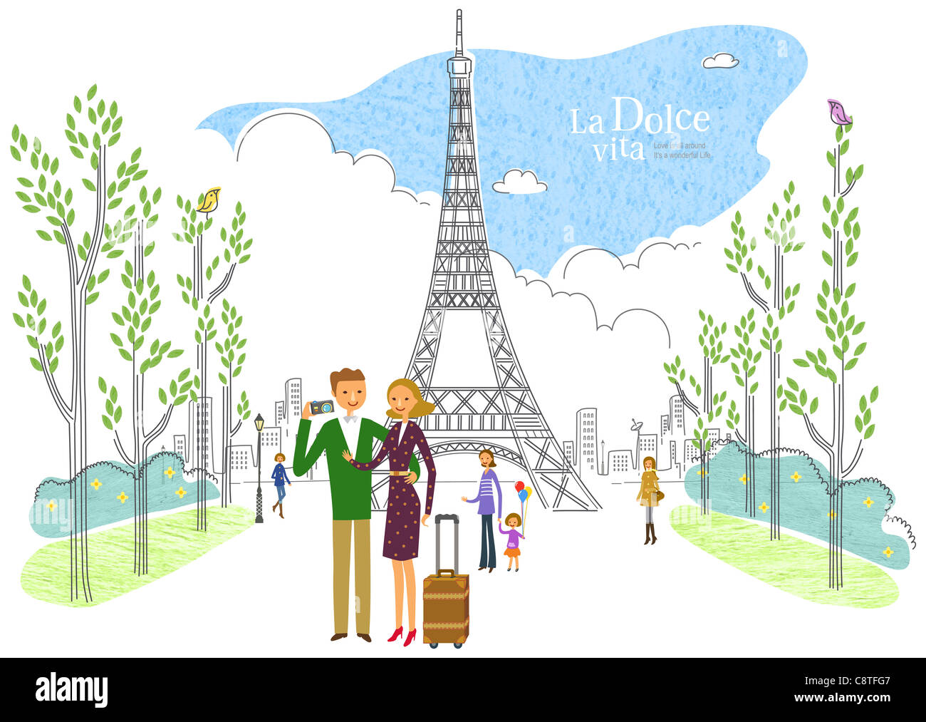 Couple Standing In Front Of Eiffel Tower - Stock Image