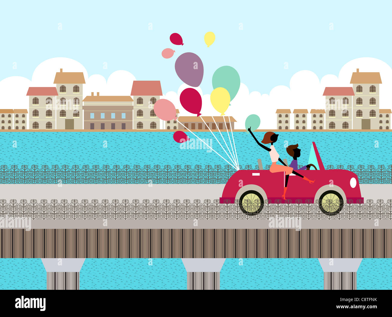 Couple In Car With Balloons - Stock Image