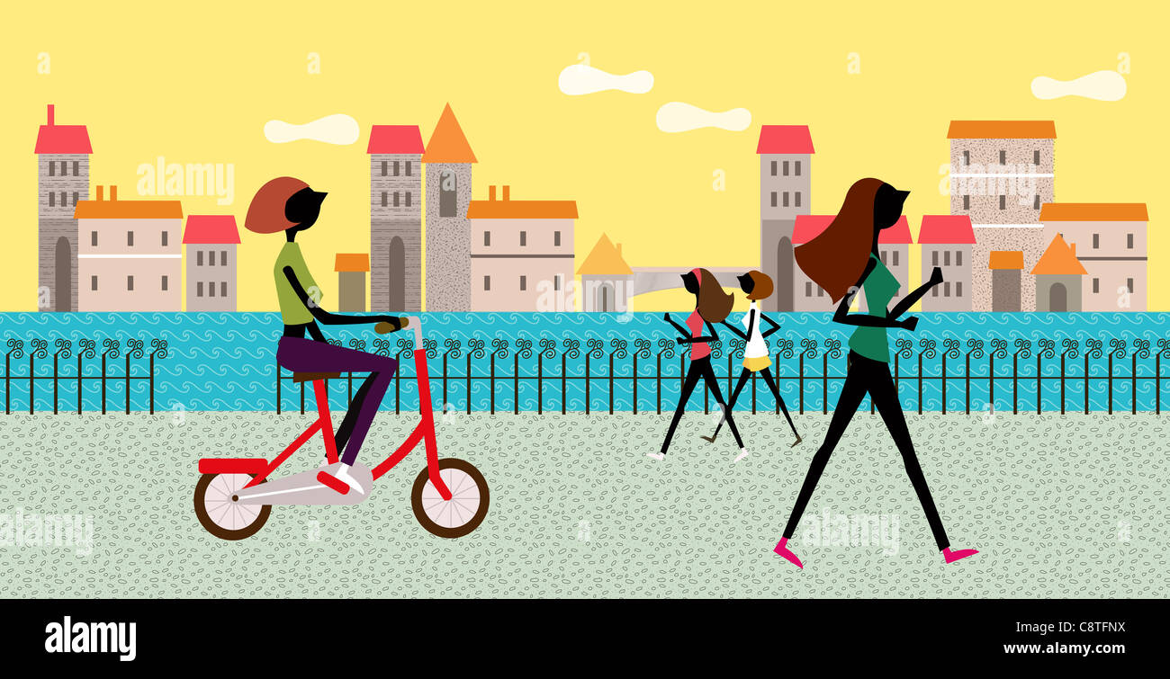 People Jogging And On Bicycle - Stock Image