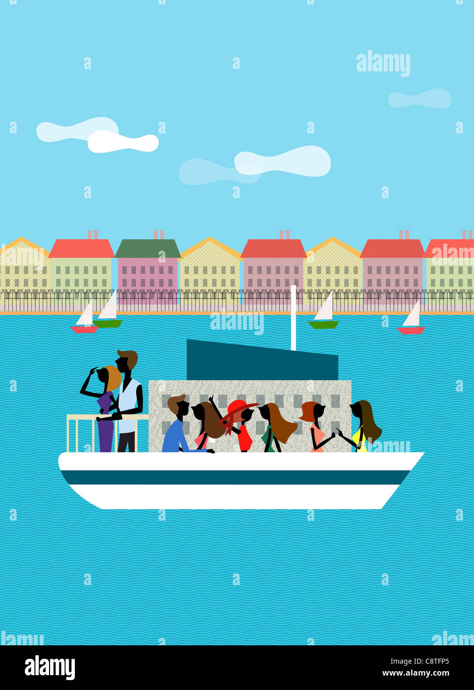 Couple On Ferry Boat - Stock Image