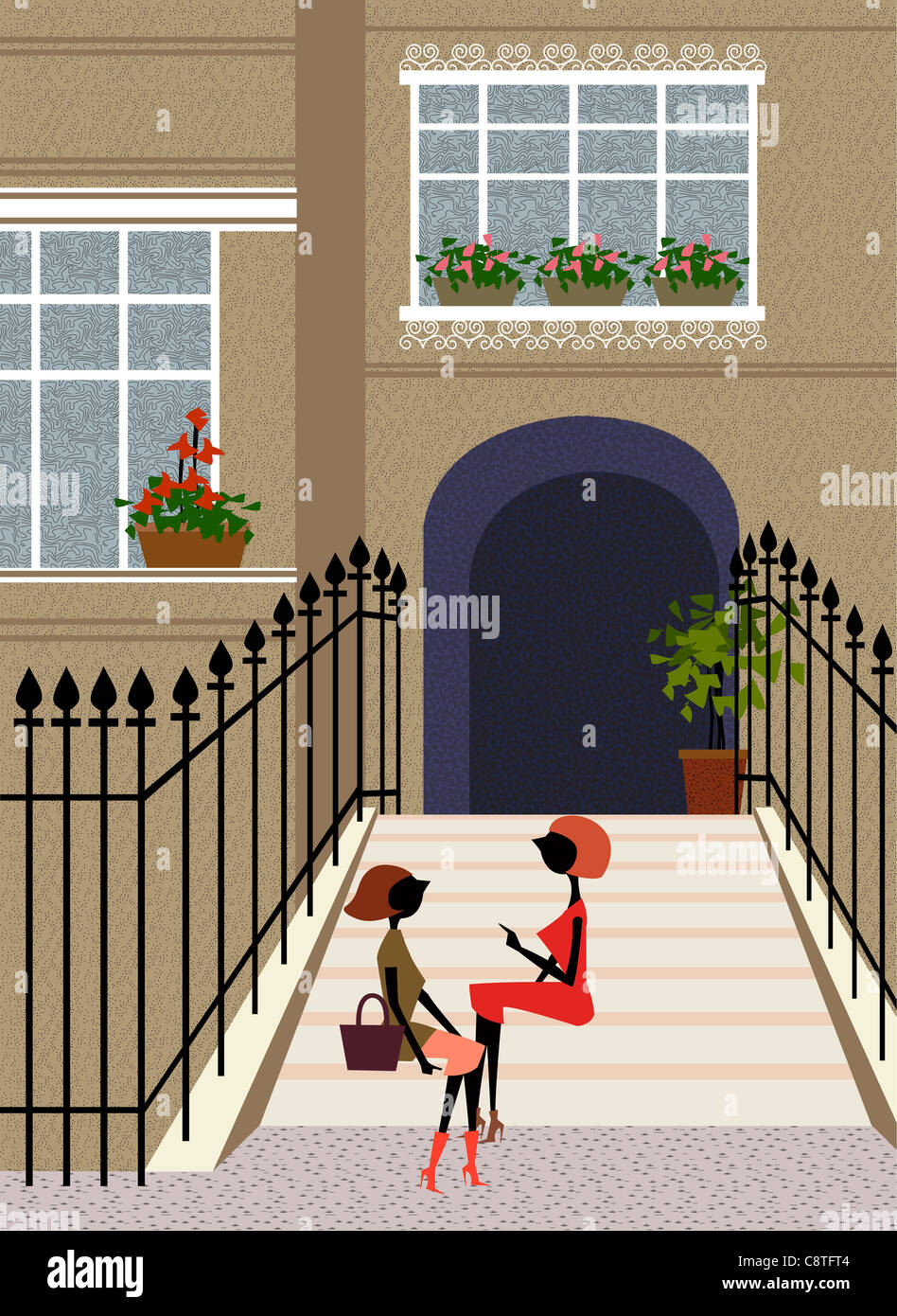 Female Sitting On Staircase Talking - Stock Image