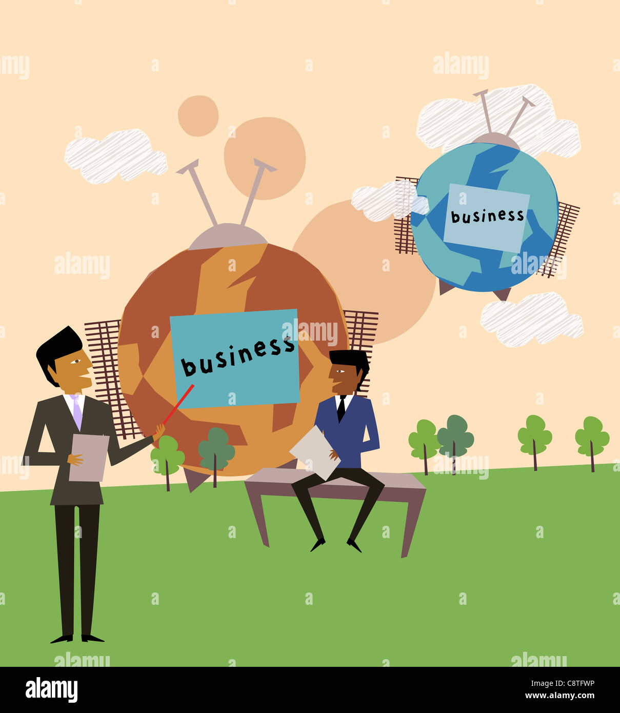 Businessmen Teaching Other Businessman - Stock Image