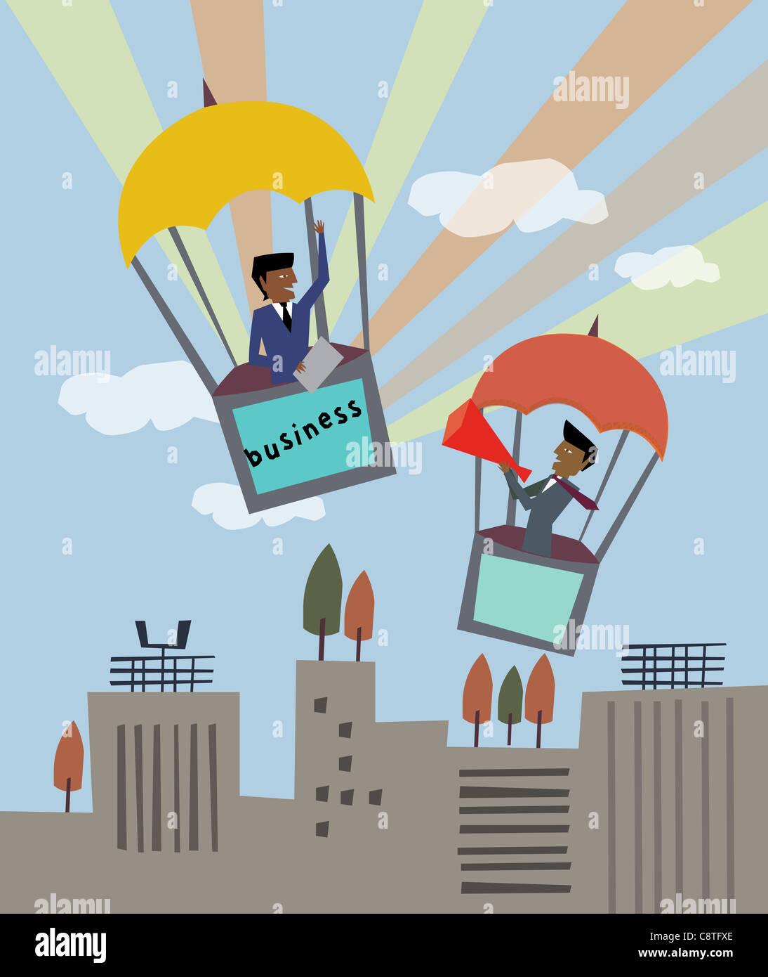 Businessmen In Hot Air Balloon - Stock Image