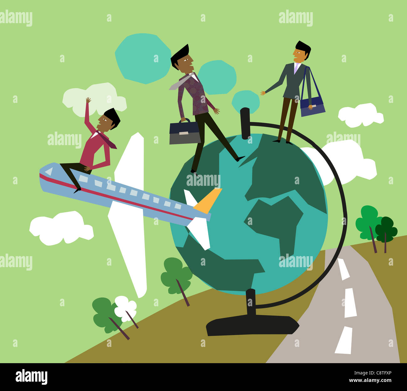 Businessmen On Globe And Sitting On Airplane - Stock Image