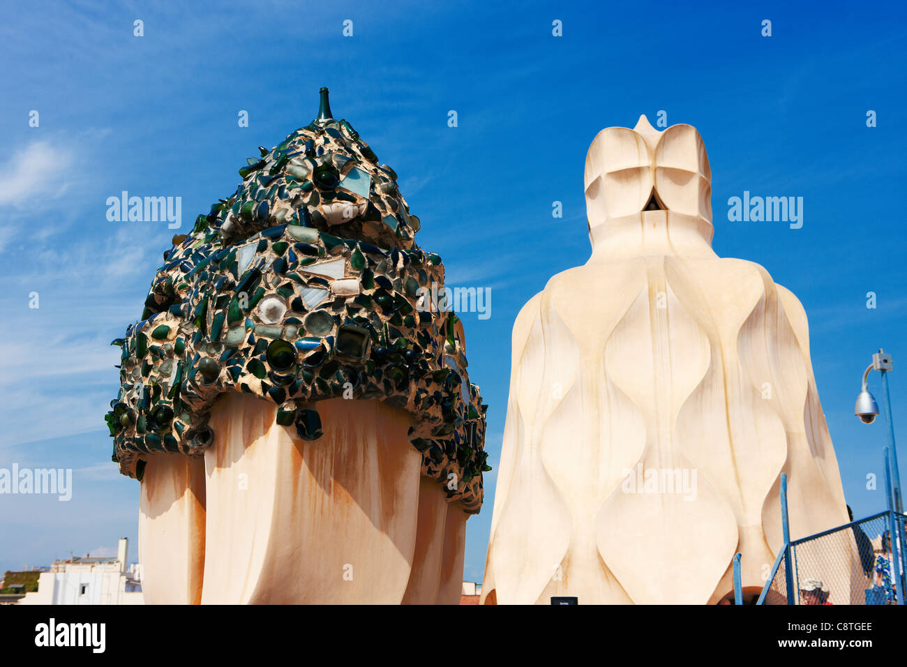 Chimneys on the rooftop of Casa Mila, or 'La Pedrera' building. Barcelona, Catalonia, Spain. - Stock Image