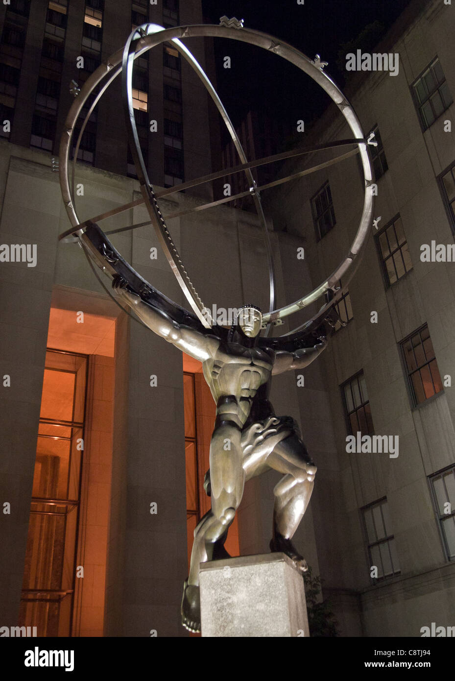 Statue of Atlas by Lee Lawrie at Rockafeller Center in New York City - Stock Image