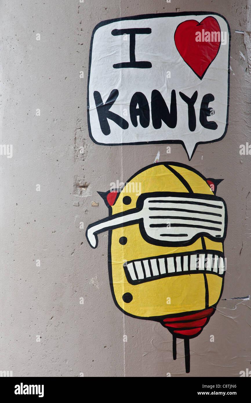 I love Kanye streetart at the Austin City Limits Festival in Austin, Texas - Stock Image