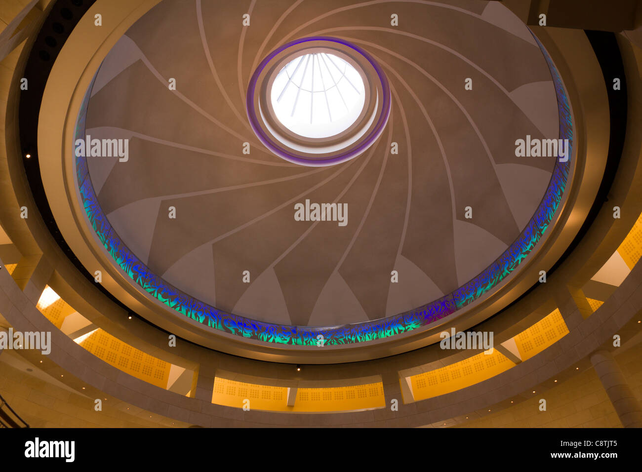 Decorative iris diaphragm pattern and skylight inside domed ceiling at Bluewater shopping centre, Greenhithe, Kent, - Stock Image