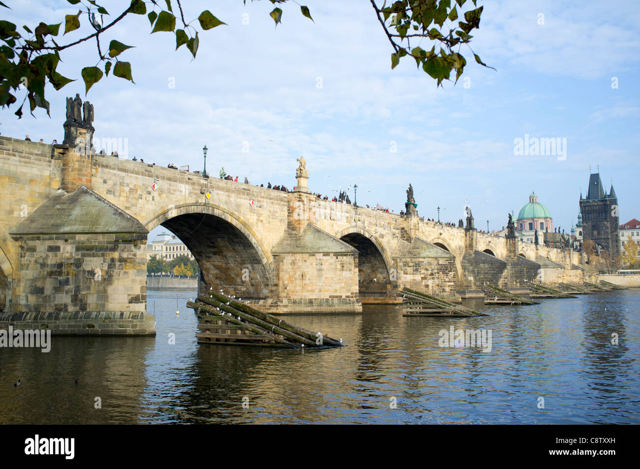 Charles Bridge or Karluv Most in Prague in Czech Republic - Stock Image