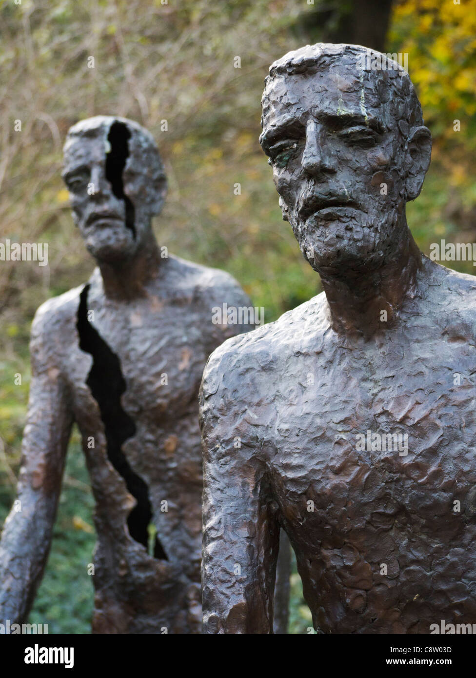Sculptures at Memorial to the Victims of Communism in Mala Strana in Prague in Czech Republic - Stock Image
