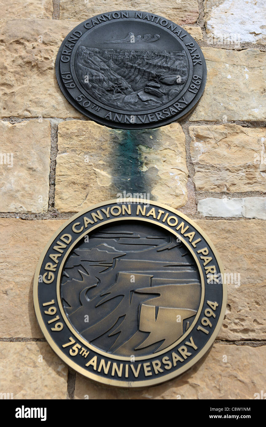 Grand Canyon National Park plaques commemorating the 50th and 75th anniversaries - Stock Image