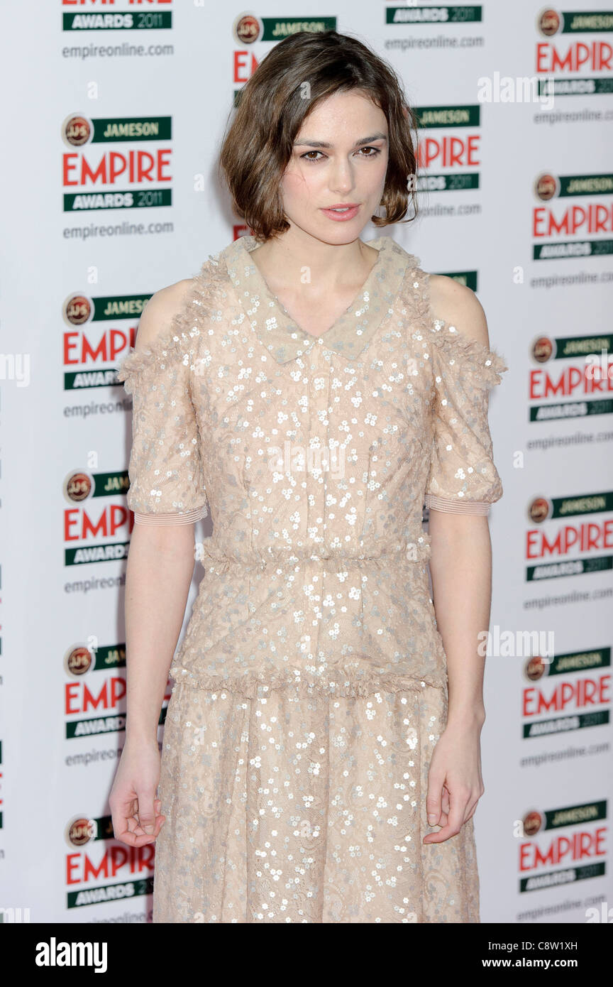 Keira Knightley attends the Empire Awards. - Stock Image