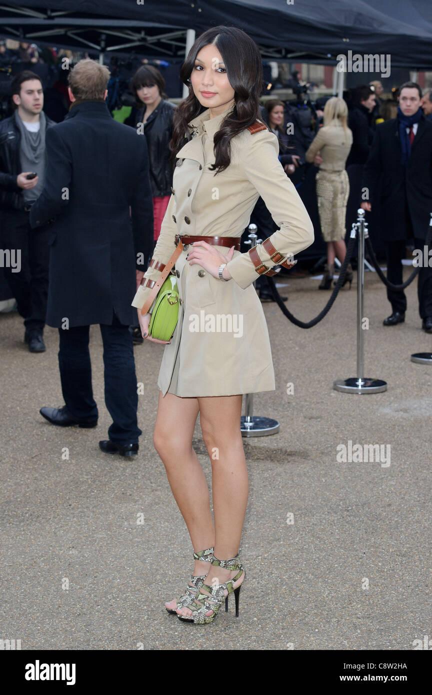 c1a178822ec Gemma Chan arrives for the Burberry Prorsum fashion show Stock Photo ...
