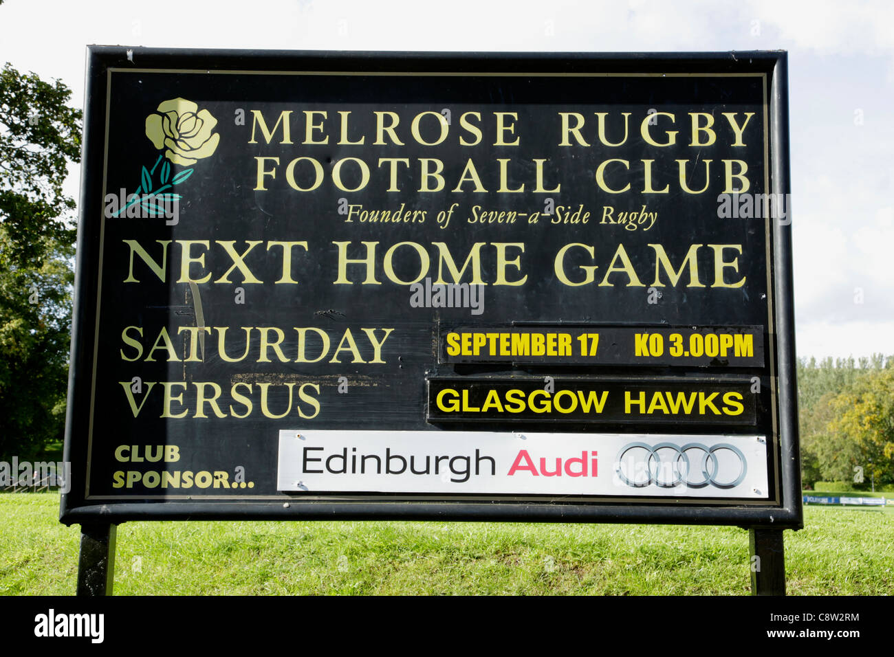Fixture board at Melrose Rugby Football Club Scottish Borders - Stock Image