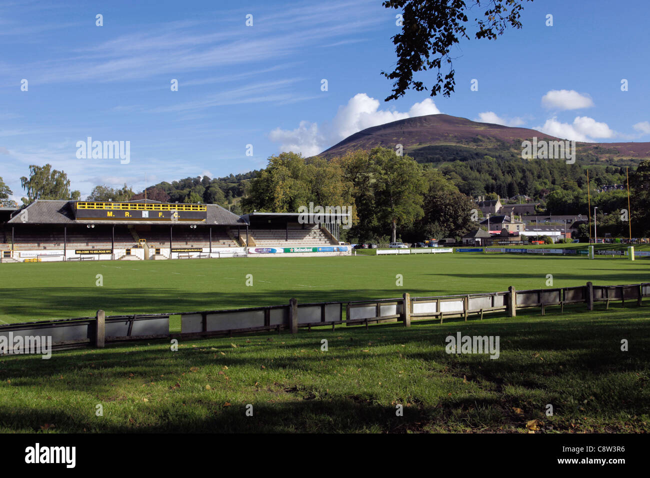 Melrose Rugby Football Club and Eildon Hills - Stock Image