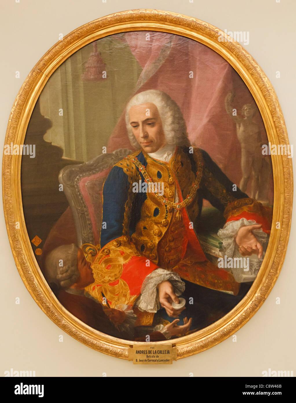 Don Jose de Carvajal y Lancaster, with the boy Mariano Sanchez. Carvajal, 1698 -1754, was a Spanish diplomat. - Stock Image