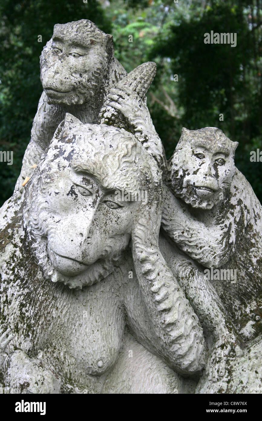 Stone Monkey Carving At The Sacred Monkey Forest Reserve, Ubud, Bali - Stock Image