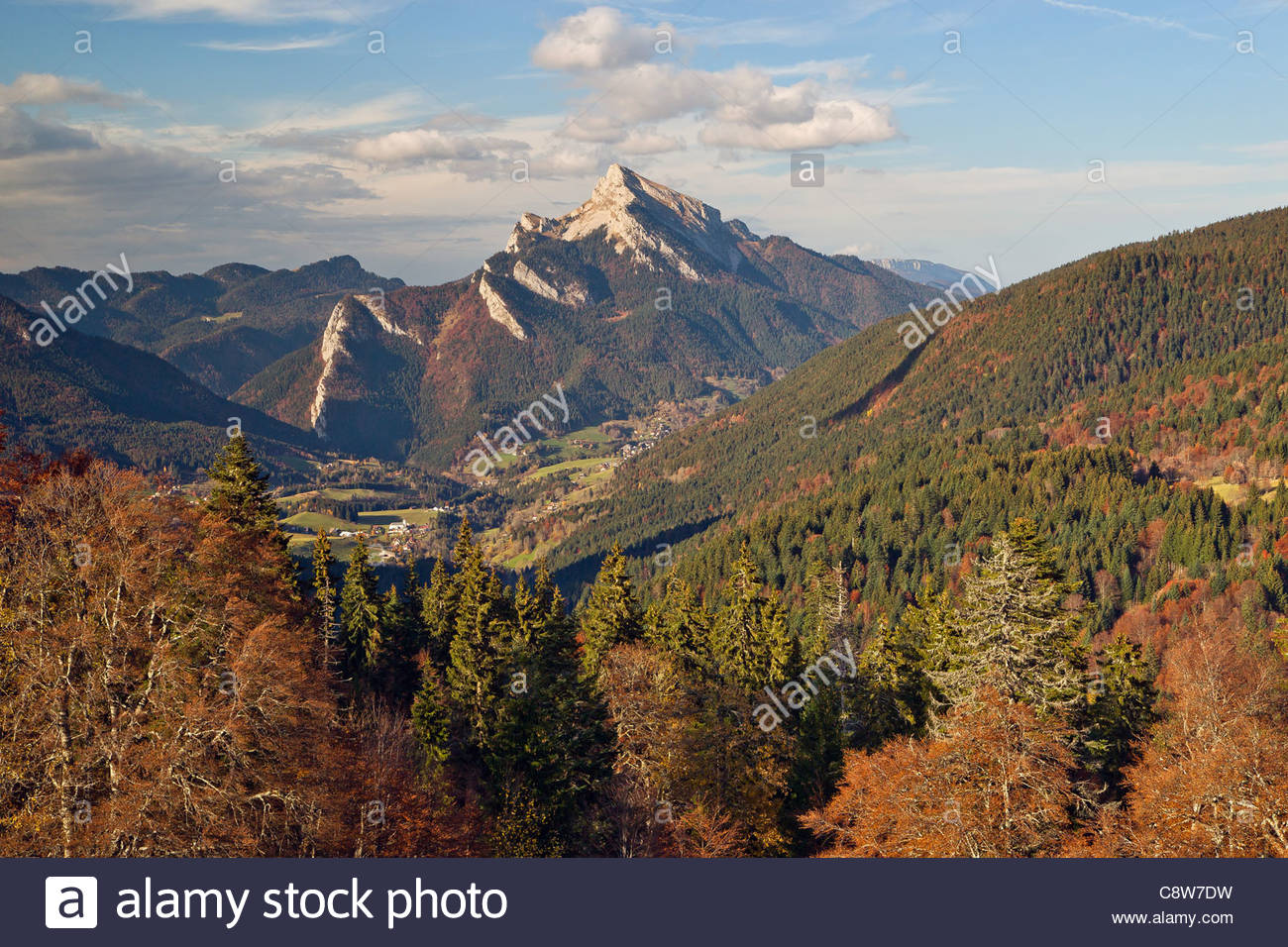 Chartreuse mountain range : Saint-Pierre-de-Chartreuse and the Grand Som - Stock Image