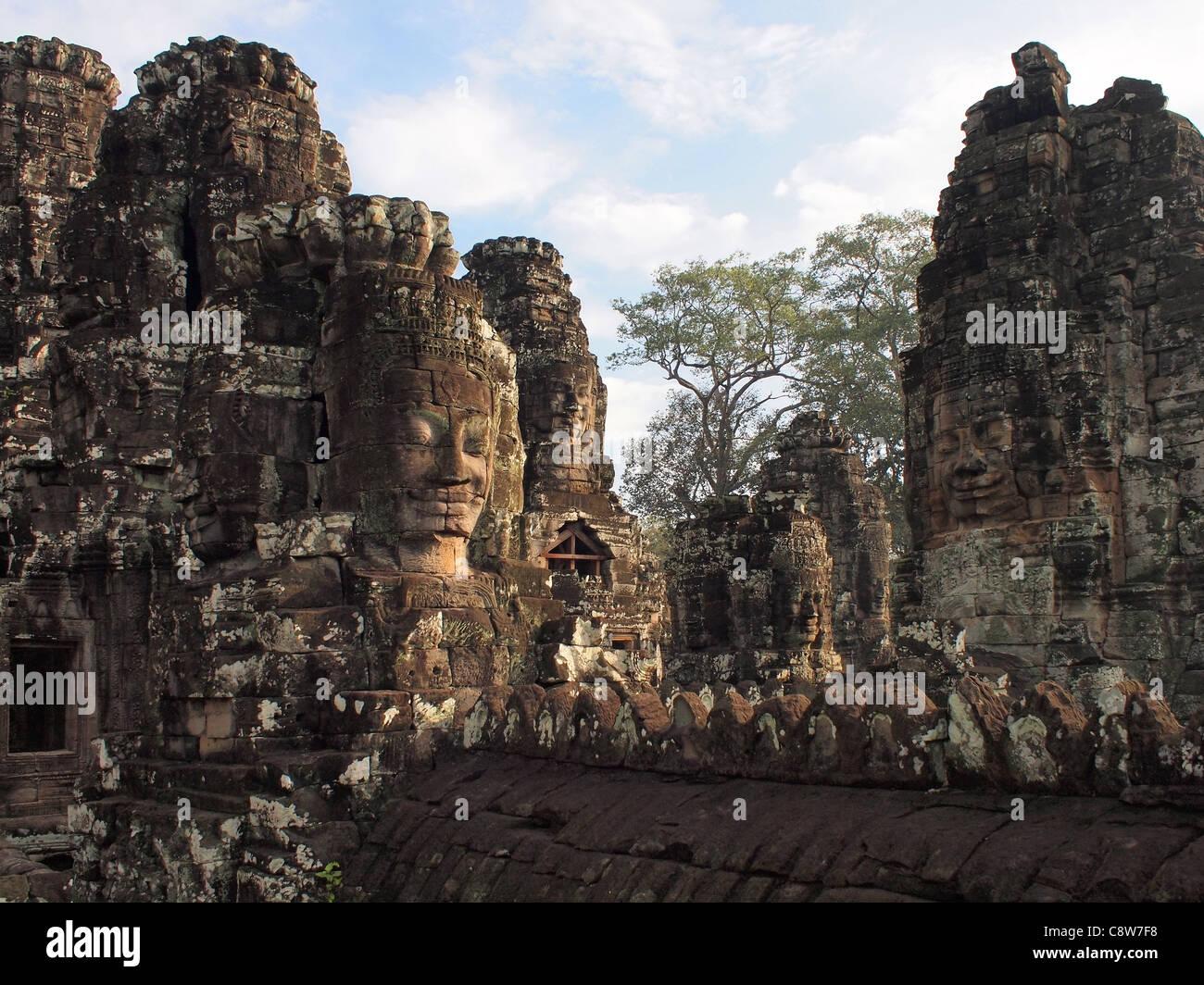 Bayon temple, Angkor Thom, Cambodia - Stock Image