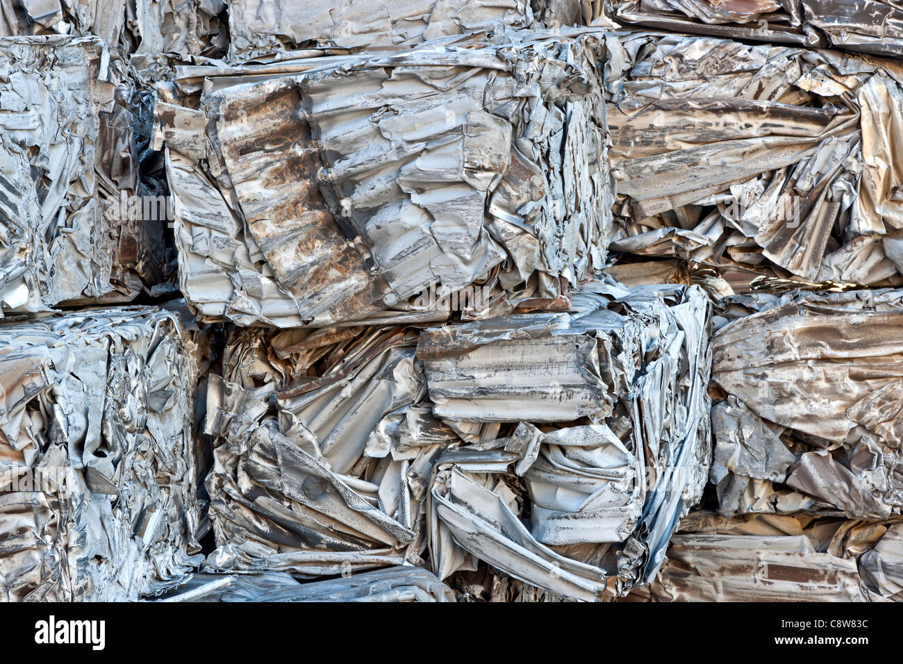 Recycling, compacted aluminum sheeting - Stock Image
