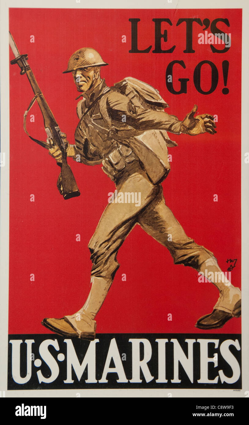Let's Go US Marine Soldier Army world war 2 1940 1945 United states of America USA - Stock Image