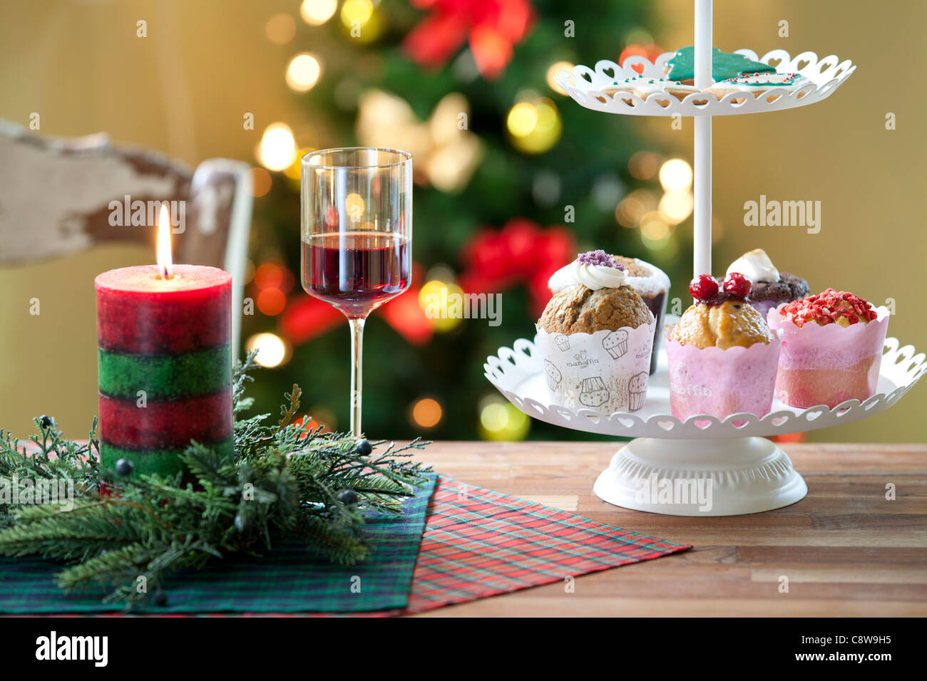 Decorative Christmas Candle, Wingless And Cup Cake - Stock Image