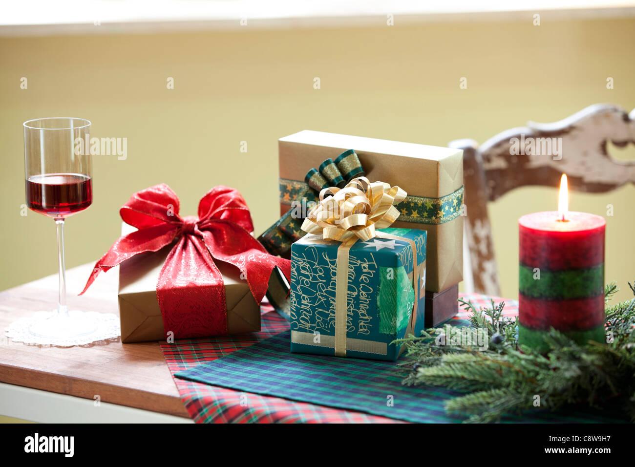 Decorative Christmas Candle, Wingless And Christmas Gift - Stock Image