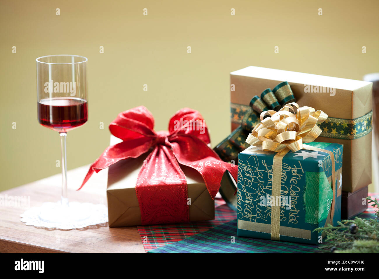 Decorative Christmas Gifts And Wingless - Stock Image