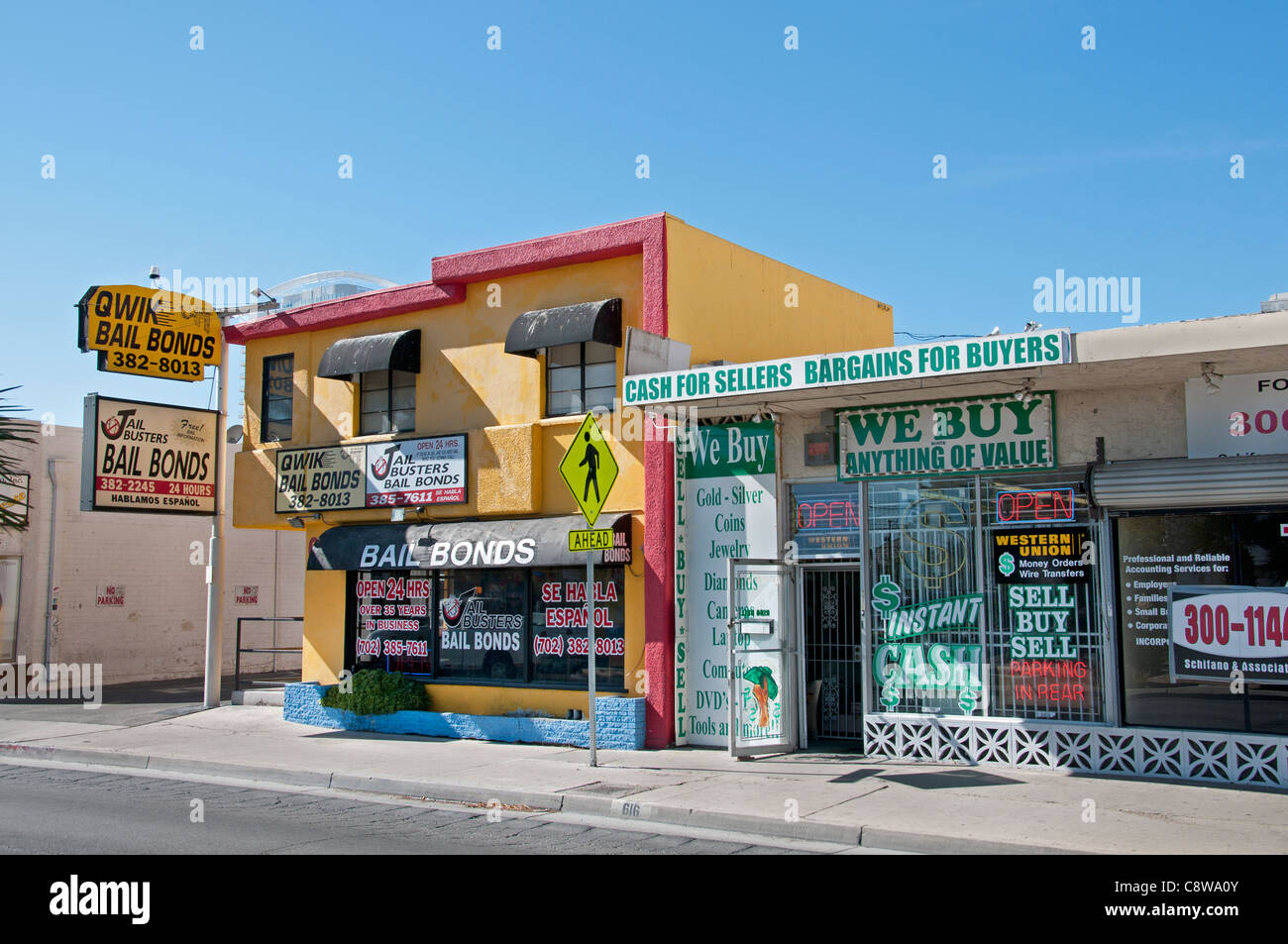 Bail bonds Pawn Shop Nevada Las Vegas  pawnbrokers - Stock Image