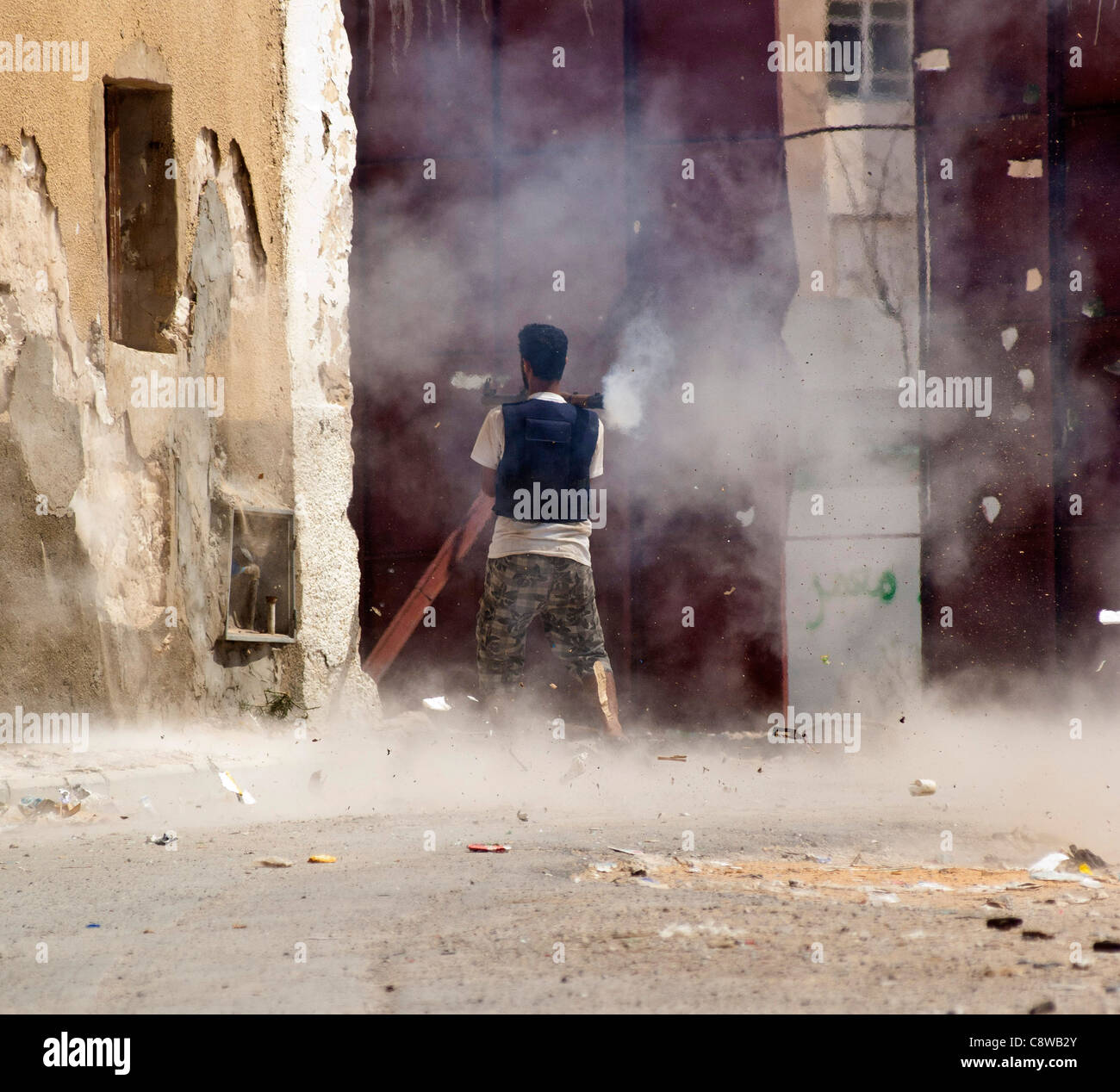 The storming of Gaddafi palace at Baba Al Azia - Stock Image