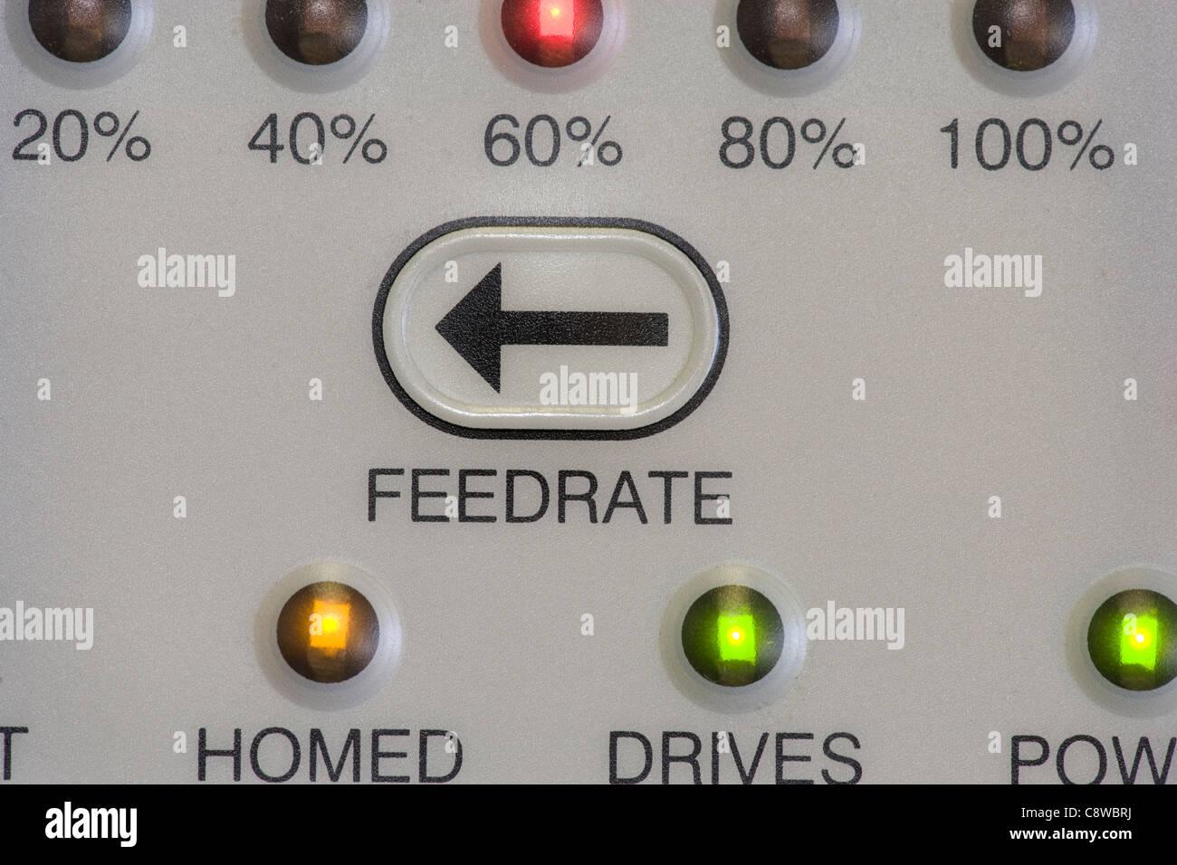 CNC lathe program control panel detail - Stock Image