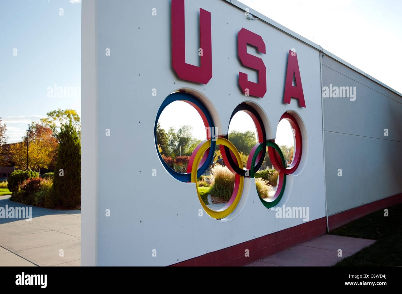A sign with Olympic rings at the U.S. Olympic Training Center, Colorado Springs, Colorado - Stock Image